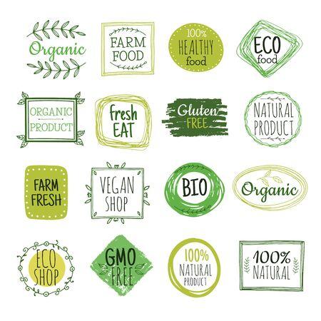 Bio labels. Vegan green eco food, gluten free natural farm product labels. Fresh organic healthy eat badges vector set. Illustration bio and eco badge green Ilustração