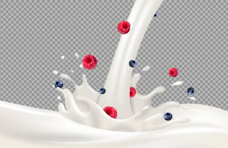 Yogurt splash. Berries milk flow and milk splash vector on transparent background. Realistic raspberry blueberry cream. Illustration milk yogurt sweet, cream splash liquid strawberry 向量圖像