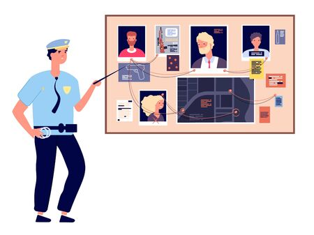 Detective board. Crime investigation plan with murder photos, newspapers and notes, cop investigator at scheme map, vector concept. Detective police investigation, board photo plan illustration Ilustração