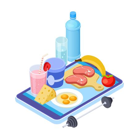 Healthy diet app. Isometric mobile diet consultant. Fruits, meat, water - healthy menu. Healthy diet on smartphone app, health meat nutrition illustration Illustration