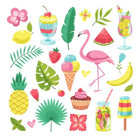 Summer elements. Tropical vacation photo booth props. Flamingo, ice cream and pineapple, leaves and cocktail, flower and smoothies vector set. Illustration pineapple and flamingo, cocktail tropical Ilustracja
