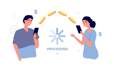 Money transfer. Mobile payment transaction service. People transfer money from phone to phone. Isolated man send coins woman vector illustration. Processing transfer money, transaction payment fast