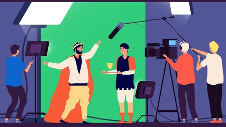 Shooting movie. Filmmaking production, cinema director and operator. TV show making, casting actors vector illustration. Film industry cinema production