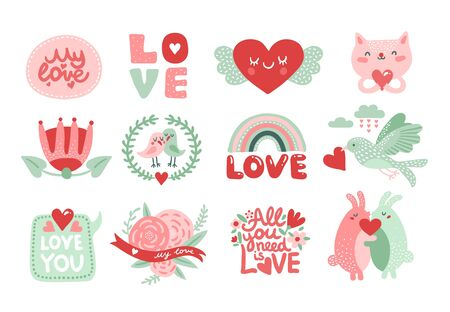 Love scrapbook elements. Valentines day lettering with cat, rabbits and bird with red heart, flowers and crown. Romantic labels vector set. Illustration cat love romantic, valentine holiday character