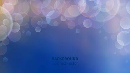Bokeh background. Abstract blur effect, luminous defocus magic backdrop. Vector blurry blue banner. Illustration light bokeh, festive magic defocused Illustration
