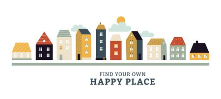 Town panorama. Urban landscape with vintage city buildings. Spring, summer cityscape with cute simple houses on street vector concept. Street townhouse front, vintage architecture illustration