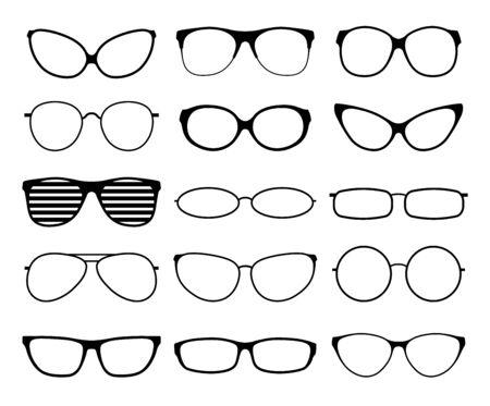 Glasses silhouettes. Fashion sunglasses frames, black spectacles. Geek and hipster eyewears. Man woman glasses. Vector icons set of eyesight lens, eyeglasses rim illustration Stock Illustratie