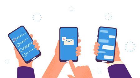 People chat. Hands hold smartphones, digital addiction. Business time management app, send mobile email and chatting vector illustration. Mobile phone chat, smartphone screen communication Ilustração Vetorial
