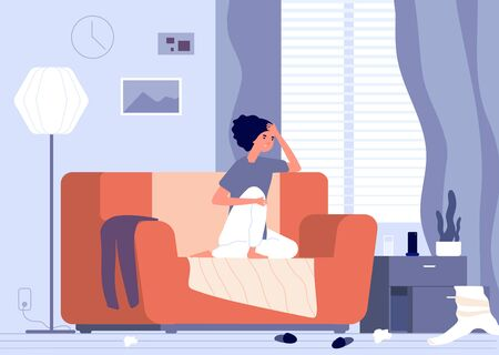 Woman apathy. Female depression, desperate unhappy young girl. Psychological crisis, regret or sad feelings. Indifference vector concept. Illustration depression female, fatigue and unhappy Illustration