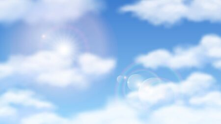 Sunny blue sky. Natural skies clouds with sun. Bright sunshine day, cloudy weather. Sunlight vector background. Illustration sunshine sun, summer weather sky