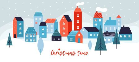 Winter simple landscape. Snowy christmas panorama with cute city buildings, falling snow and fir-trees. New year and xmas vector background. Illustration street landscape, exterior snowfall