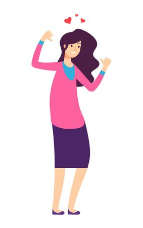 Confident woman. Confidence, high self esteem and love yourself girl isolated character. Happy female adult cheering person vector concept. Illustration love yourself, woman happy and confidence Illustration