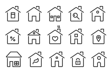 Home icons. Thin line modern houses, homes with roof, windows doors. Flat hotel cottage residence symbols. Isolated vector signs set. Illustration building mortgage, architecture urban icons house Reklamní fotografie - 134976130