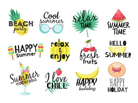 Summer labels. Beach vacation, summer travel graphic with lettering. Cocktail, sun and fresh fruits, ice cream badges vector set. Illustration paradise party label, watermelon and tropical fruits Ilustração Vetorial