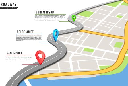 Roadway infographic. Locations map, highway pinned points with information. City map and navigation gps locations. Road traffic vector illustration. Traffic roadway location, forward way  イラスト・ベクター素材