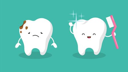 Teeth. Plaque terth, shiny white tooth. Mouth hygiene and toothache. Dental happy and sad vector characters. Illustration dental hygiene tooth Stockfoto - 134947639