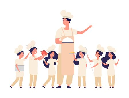 Children cooks. Teacher chef, cooking lessons for kids. Happy boy, girl little chief cookers, cute kids in uniform. Kitchen team vector characters. Teacher cook, chef and girl boy cartoon illustration