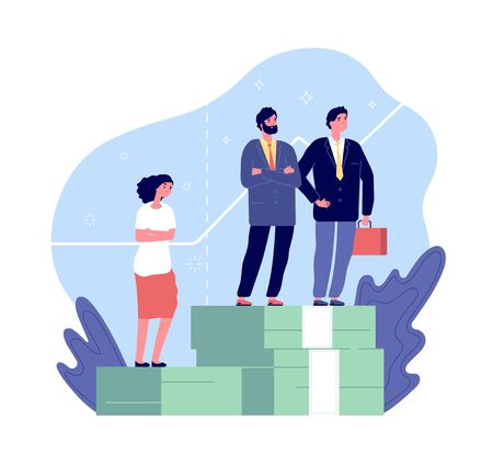 Female discrimination. Gender gap, men and women have inequality rights. Sexism in pay unfair comparison vector concept. Illustration job woman rights equality Vektorgrafik