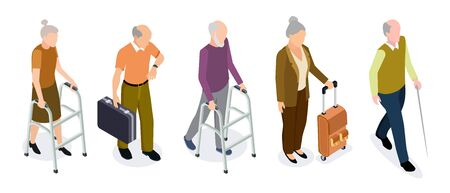 Isometric elderly people vector set. Active older women and men isolated on white background. Illustration isometric people elderly, 3d person retirement