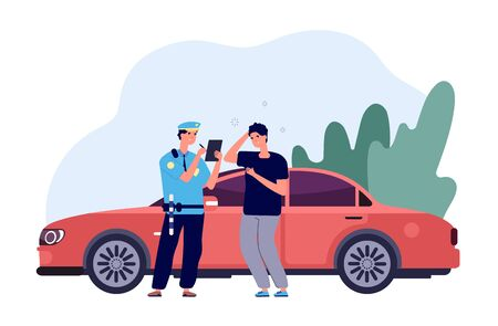 Policeman and driver. Car inspector write fine to intruder high speed traffic violation. Safety control admonition vector concept. Officer police write ticke for over limit speed illustration