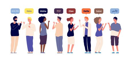 Greeting in native languages. International multiracial friends speech hello. Foreign language, women men greet each other vector concept. Illustration native language speech hello