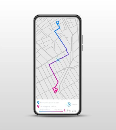 Mobile navigation. GPS navigator, route map application. Search destination, direction or traffic. Vector app navigate on phone screen. Illustration destination gps route, search direction