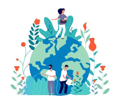 People take care earth. Volunteers cleaning green planet, planting and watering flowers, globe ecological idea, poster vector concept. Illustration ecology world, nature planet and volunteering