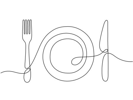 One line art. Plate knife, fork continuous outline drawing. Decoration for cafe or kitchen, restaurant or menu. Cutlery vector illustration. Plate drawing outline with dishware contour