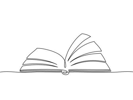 Libro de una línea. Esquema de libros de la biblioteca, bocetos de arte, material didáctico. Dibujo de cuaderno aislado para la universidad o la escuela. Bosquejo del libro del esquema del vector, ilustración de la literatura del conocimiento del dibujo