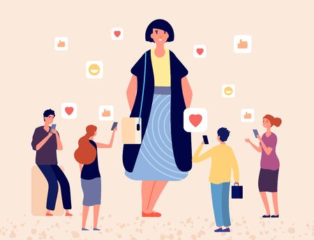 Body positive concept. Tiny people like plus size woman. Obese happy girl vector character. Woman like in social, successful girl illustration