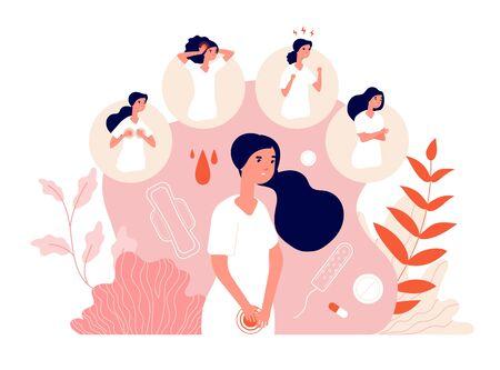 PMS. Dolor abdominal femenino, síndrome menstrual y cambio de comportamiento. Salud, emoción y sentimientos de la mujer. Concepto de síntoma premenstrual de vector. Ilustración menstruación dolor femenino, menstrual abdominal Ilustración de vector