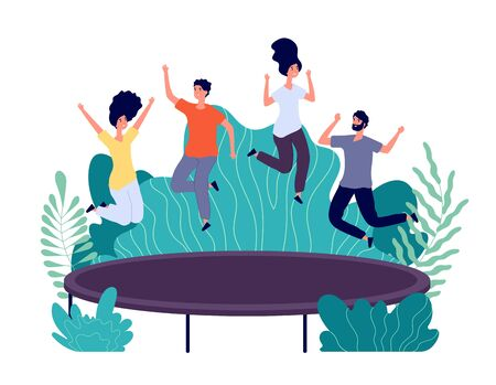 Trampoline jumping. Young happy people jump, teens activity. Entertainments in park, friends outdoor jumps. Active persons vector concept. Illustration young happy people jump trampoline in park