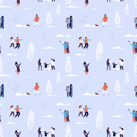 Winter time seamless pattern. Couples and kids outdoor, people in snowy forest background. Winter activities vector texture. Activity in winter forest, snowman with happy family illustration