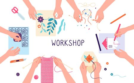Handmade workshop. Craft diy knitting, drawing and scrapbooking projects. Creative lab, design or teamwork. Kids freetime vector illustration. Handcraft knitting and sewing, embroidery and drawing