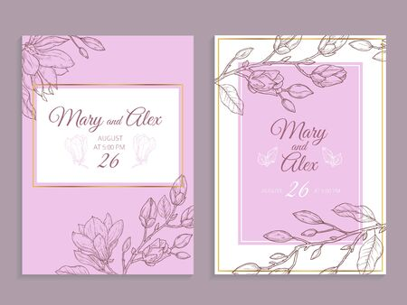 Magnolia invitation. Modern floral wedding invite. Elegant graphic flowers bouquet vintage poster flyer. Luxury nature blooms vector cards. Illustration floral invitation wedding botanical