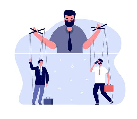 Master of puppets. Political controlling, business boss and workers. Team control and marionettes. Vector puppeteer leads people concept. Illustration control puppet and master manipulation Illustration