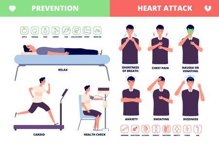 Infarto de miocardio. Folleto de enfermedades cardíacas, síntomas y prevención. Enfermedad adulta, dolor y presión en el pecho. Cartel de infografía de salud de vector. Dolor en el pecho antes del ataque cardíaco, físico médico.