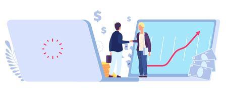 Online deal. Ecommerce partner agreement, profitable business relationship. Financial trading partnership profit, vector job concept. Illustration partnership handshake agreement