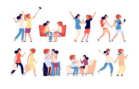 Amitié féminine. Amis de femmes ensemble, activité de filles. Des gens souriants au café et marchant, dansant et faisant du selfie. Ensemble de vecteurs de fraternité. Groupe féminin d'amitié d'illustration, caractère ensemble