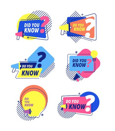 Did you know. Idea labels, sticker with question discussion. Talking facts, speech bubbles icons for marketing or sales. Vector labels set. Ask message bubble, badge promotion question illustration