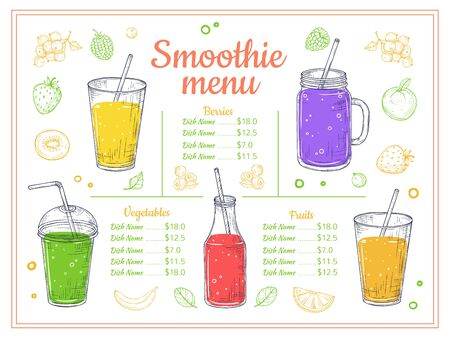 Smoothie menu. Cold drinks, summer shakes and cocktails. Sketch lemonade and healthy diet beverages. Fruits berries juice vector poster. Illustration smoothie menu, lemonade drink, juice cocktail Ilustrace
