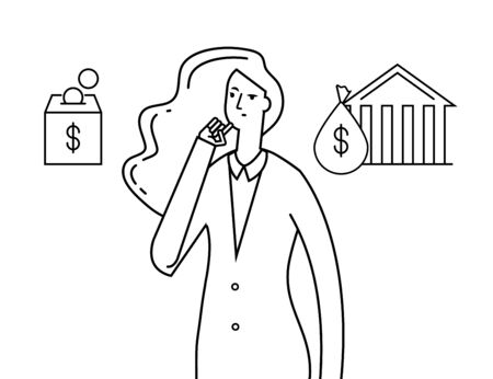 Budget planning. Economy money plans, thinking girl. Woman chooses between bank and home saving. Vector planning investing concept. Saving or investment, budget economy finance illustration  イラスト・ベクター素材