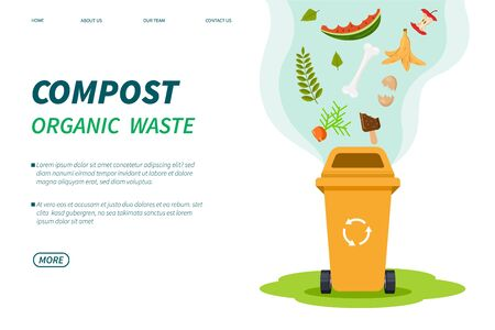 Compost waste. Composting bin, organic green trash box recycle. Foods plants garbage for garden fertilizer. Vector landing page template. Illustration compostin recycling garbage, ecology utilization