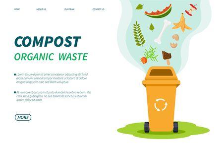 Déchets de compost. Bac de compostage, recyclage de la poubelle verte biologique. Aliments plantes déchets pour engrais de jardin. Modèle de page de destination de vecteur. Illustration compostin recyclage des ordures, utilisation de l'écologie