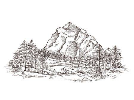 Mountain landscape sketch. Nature doodle drawing, valley panorama. Creative drawing hill, forest and rocks. Vintage vector illustration. Sketch landscape mountain, illustration graphic panorama doodle
