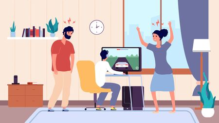 Game addiction. Teenage gamer, angry parents. Family quarrel, mother swears at child vector illustration. Gamer with computer, gaming addiction, game video