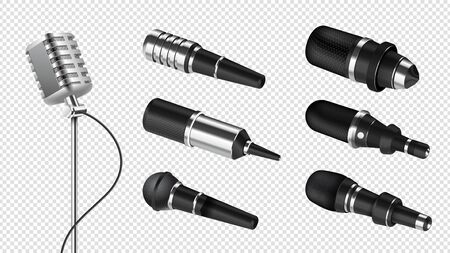 Realistic microphones. Sound studio equipment. Professional microphone for speech, karaoke or radio. Isolated 3d silver mic vector set. Musical karaoke mic for record, microphone vintage illustration