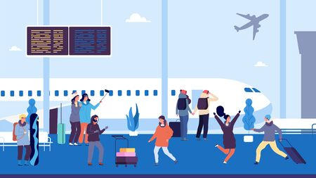 Winter travel. Passengers wait flight, meet and escort people. People at airport with suitcases. Vector vacation illustration flight winter, travel waiting with luggage