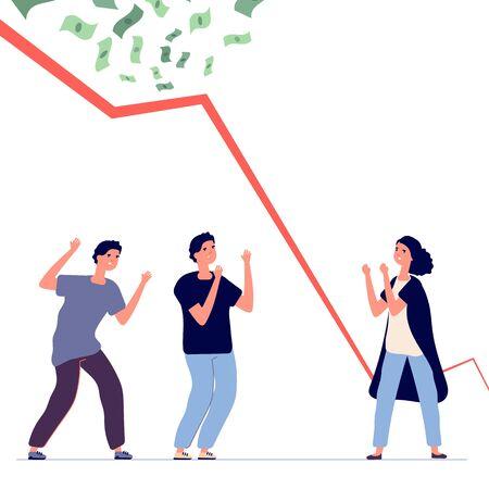 Bankruptcy. Financial crisis, falling chart. Upset people and economic problems vector illustration. Bankruptcy financial arrow crisis, failure stock