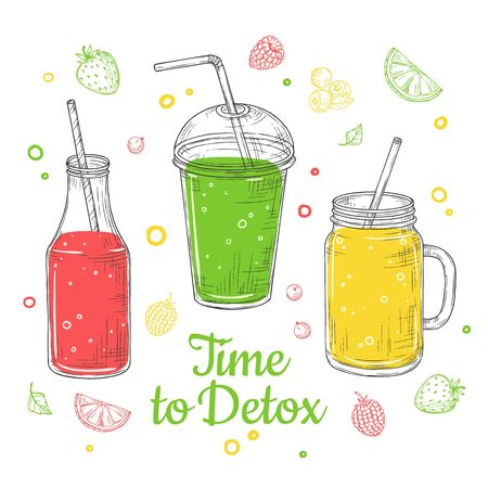 Smoothie background. Summer drink, doodle healthy juices. Fresh fruit diet. Isolated detox breakfast illustration. Vector poster design. Time to detox, smoothie healthy drink, freshness juice